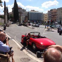 Noleggio auto storiche Cinema e tv - Cristina Parodi con le nostre auto d'epoca