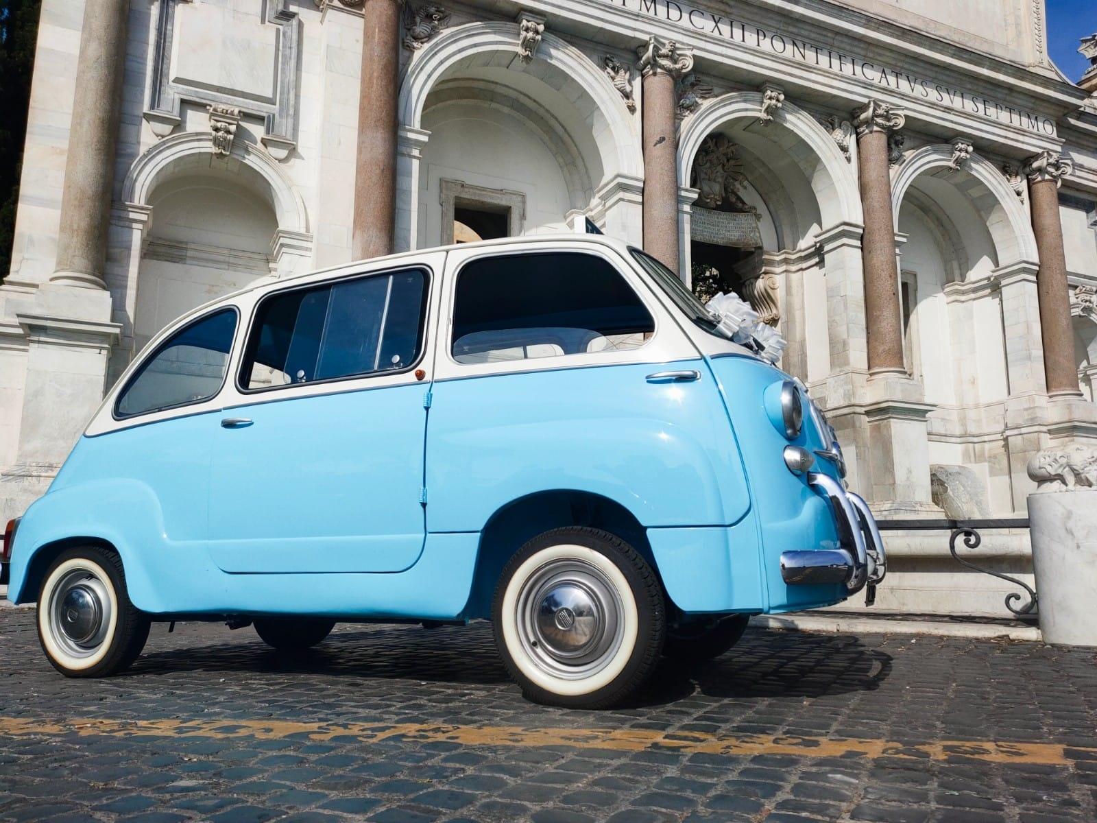 Noleggio auto d'epoca a Roma per matrimoni ed eventi | Fiat 600 multipla top vintage
