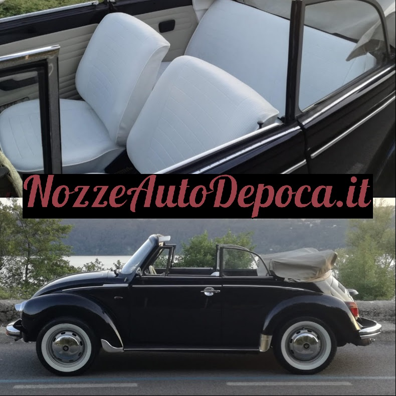 Maggiolone Cabrio nero per matrimoni su Roma e Provincia - noleggio auto storiche matrimoni