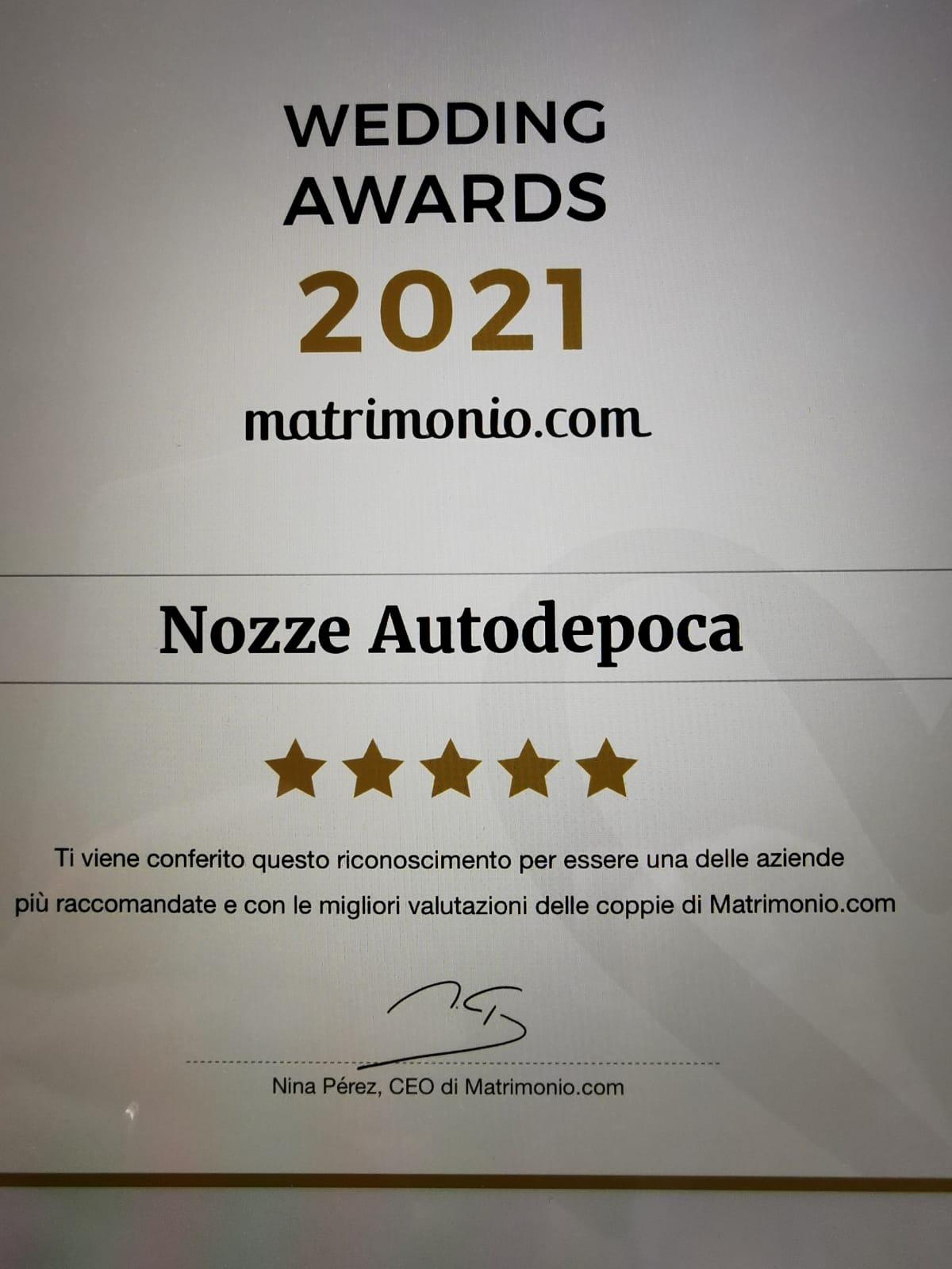 Wedding award 2021 matrimonio.com - Noleggio auto matrimoni - Noleggio Auto matrimoni - nozze auto - auto matrimonio Roma