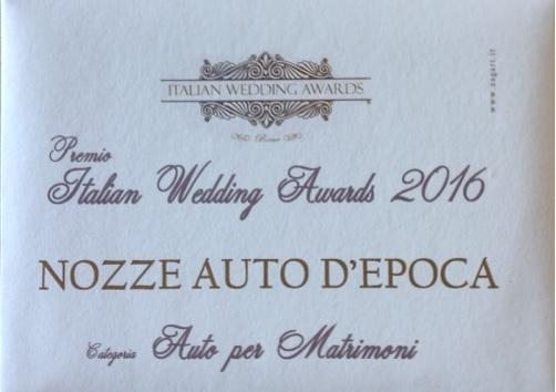 Noleggio auto matrimoni - Premio Italian Wedding Adwars 2016 - noleggio auto storiche